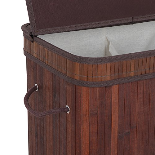 Smartxchoices Bamboo Laundry Hamper Divided Double 2 Section Laundry Basket w/Lid Handles Removable Liner Dirty Clothes Storage Baskets … (Brown)