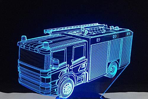 Zcmzcm 3D Veilleuse Led Camion De Pompiers Touch Switch Jouets Pour Enfants Salon Chambre À Coucher Décoration De Fête Cadeau D'Anniversaire 7 Couleur Remplacer Usb Châssis Blanc