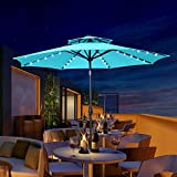 10 ft 2 Layers Patio Umbrella with 40 Lights Windproof Outdoor Market Table Umbrella with Ventilation,Tilt and Crank(Blue)