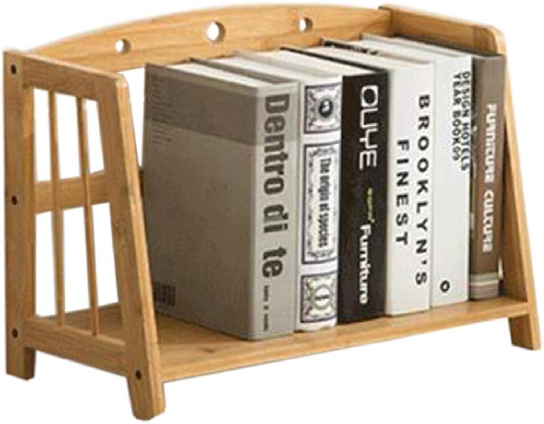JCAFA Shelves Desktop Bookshelf Trapezoidal Frame Storage Rack Student Multifunction Bamboo Small Bookshelf, Various Sizes (color   Wood color, Size   43  22  28cm)