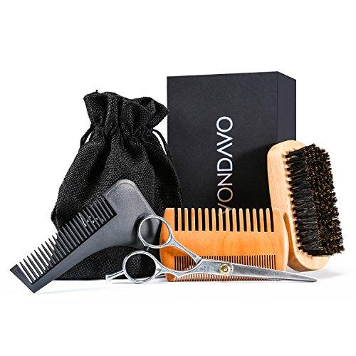 VONDAVO Bartpflegeset für Männer - Bartbürste mit 100% Wildschweinborsten, Doppelseitiger Bartkamm, Friseurschere & Bart-Schablone, Antistatisch und Tragbar 4 in 1 Geschenk Bart set