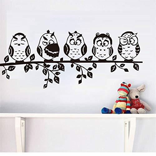 Vinyl Wall Art Inspirationele Citaten en Zeggen Home Decor Sticker Vijf Baby Uilen Planten Cartoon Dieren Boom Muurstickers voor Woonkamer Bed Kamer Kids Kamers 15.5