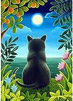 QMGLBG 5Dダイヤモンド塗装猫は月のダイヤモンドの絵画の子供の教育手作りおもちゃのクラフト壁の装飾を見て40*50cm