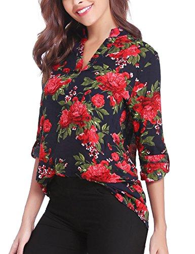 Abollria Donna Camicia Elegante a Fiori Blusa Lunga a Scollo-V con Maniche Regolabili per Ufficio Ideale per Primavera Estate Autunno