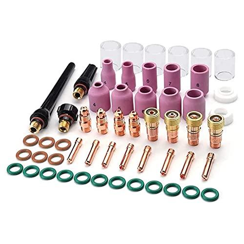 Kit de accesorios de antorcha de soldadura TIG de 55 Uds, Boquilla de alúmina, lente de Gas rechoncho, kit de 10 vasos Pyrex para TIG WP-17/18/26