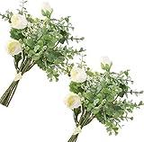 JaosWish Ramo de flores artificiales de eucalipto con rosas de seda para el aliento del bebé para decoración del hogar de boda