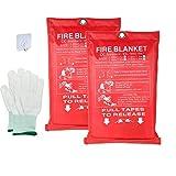 HENGGE Manta De Fuego De Fibra De Vidrio Protección contra Retardantes Y Aislamiento Térmico, para Rescate De Emergencia,2PACK