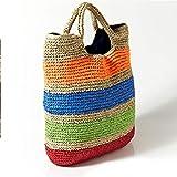 Dwqlx Bolsos De Playa De Verano De Ganchillo De Moda Bolso De Paja Colorido Bolsos Bordados De Mujer Bolsos De Viaje Hechos A Mano Bolso De Mano De Niña