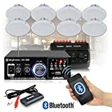 EM Cafe Restaurant Shop Bluetooth Amplifier Ceiling Speaker System Kit with 8x Ceiling
