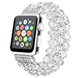 Fohuas Compatible for Apple Watch Bracelet 42mm 44mm, Fashion Crystal Beads Iwatch Band with Metal Chain Elastic pearls Stretch Wristband for iWatch Series SE 6 5 4 3 2 1, Sports, Edition, Hemes, Nike+, White