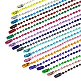 200 Pieces 120mm Long Bead Connector Clasp Mixed Color 2.4 mm Diameter Metal Ball Chain Ke...