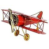 Vintage Mini Métal décoratif modèle Avion Hanging Fer Forgé avion biplan jouets for accessoires photo, bureau Décoration / 27X31X14CM (Color : Red)