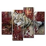 4-teiliges Wandbild, Wolf im Wald, auf Leinwand gedrucktes