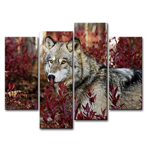 4-teiliges Wandbild, Wolf im Wald, auf Leinwand gedrucktes Kunstwerk, moderne Dekoration fürs Zuhause, Ölfarbe