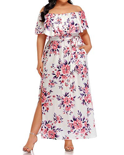 Plus Size Off The Shoulder Dresses Women Maxi Pink Floral Beach Casual Summer Long Ruffle Side Split Dress with Pockets