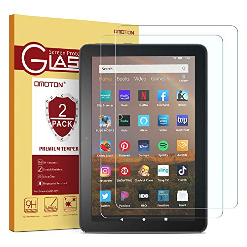 [2 pack] OMOTON Screen Protector for All-New Fire HD 8/Fire HD 8 Plus/Fire HD 8 Kids (10th Generation - 2020 Released), Tempered Glass/High Definition / 9H Hardness