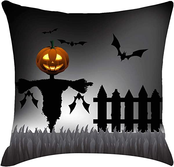 Shan S Halloween Theme Pillow Covers Happy Halloween Castle Pumpkin Witches Cats Throw Pillow Case Daily Decorations Linen Cushion Covers Square Pillowcase Decor Sofa Couch Bed 18 X18