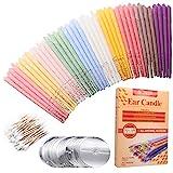 40PCS Ohrkerzen, Ohrenkerzen,Ohrenschmalzkerze, Ohrkegelkerze, Ohrenschmalzentfernung, ungiftige organische Gasflasche, Parfümhohlkegelkerze mit 20 Schutzscheiben (10 Farben)