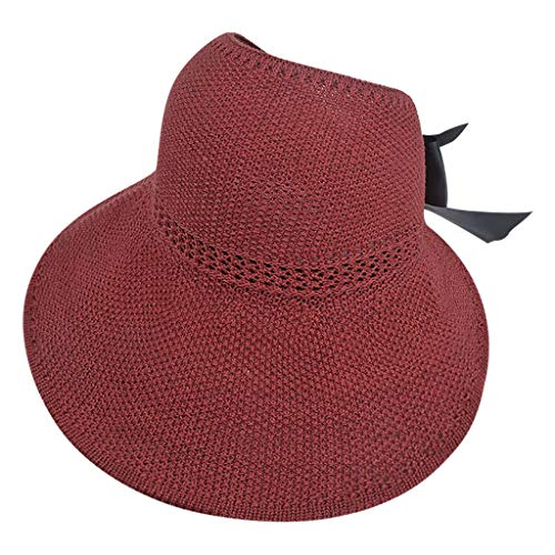 CUTUDU Ladies Straw Sun Hat Packable Roll Brim Summer UV Beach Sunhat Fashion Knitted Bowknot Cap Adjustable Headwrap Turban (Red, One Size)