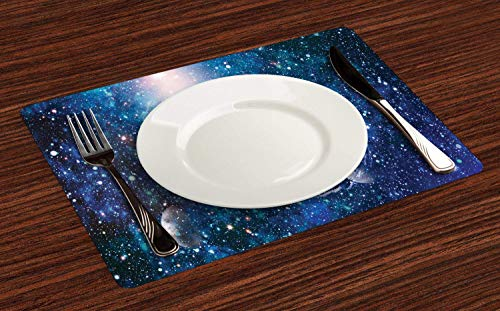 Astral Placemats for Dining Table, Nebula Helix with Lots of Stars and Planets Outer Space Themed Print, Anti-Skid Heat Resistant Place Mat Decor for Kitchen Party, Set of 4, Dark Sky Blue Multicolor