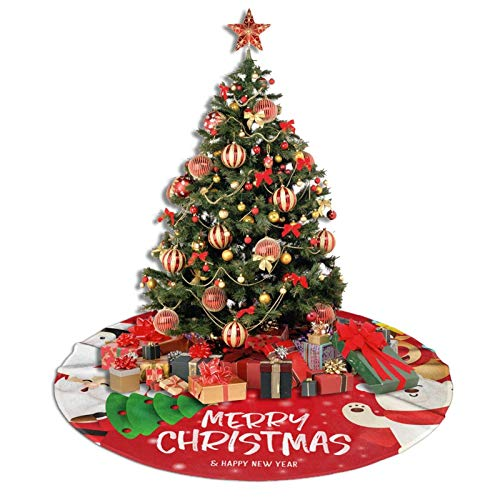 SUMILUOCHEN Christmas Tree Skirt, Merry Christmas and Happy New Year Home Decor for Holiday Party Tree Mat, 35 Inch Xmas Tree Office Festive Decor