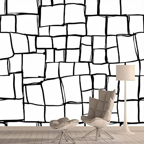 Papel pintado personalizado de cualquier tamaño 3D con patrón de cuadrícula en blanco negro para paredes de sala de estar, papel decoración del hogar, sofá, fondo de pared, 200 x 140 cm