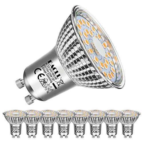 EACLL Bombillas LED GU10 6W 2700K Fuente de Luz Regulable Blanco Cálido 570 Lúmenes Lámparas Reflectoras. Atenuación de 3 Niveles Solo Con un Interruptor Normal. AC 230V Sin Parpadeo Focos, 8 Pack