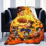 Anime One Piece Ace and Luffy and Sabo Blankets Super Warm Soft Bed Blanket Sofa Home Bedroom Woollen Blanket Flannel Blanket