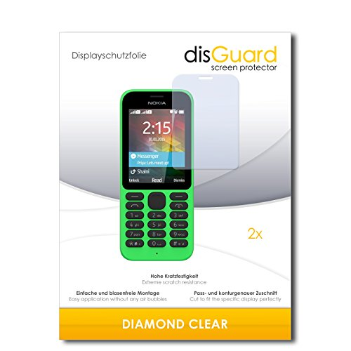 disGuard 2 x Bildschirmschutzfolie Microsoft Nokia 215 Dual SIM Schutzfolie Folie DiamondClear unsichtbar