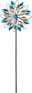 Collections Etc Blue & Gold Double Wheel Wind Spinner Garden Stake Metal Art Decoration
