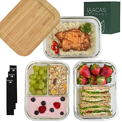 LAACAS Glas Frischhaltedosen [3X Meal Prep Boxen] - Glasbehälter mit Deckel aus Bambus und 1,2 & 3 Fächer - BPA-frei Glasschüssel mit Deckel stapelbar- Perfekt für Meal Prep - Glasdosen mit Deckel