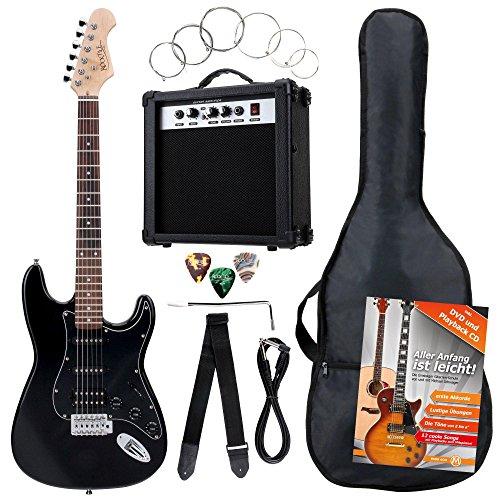 Rocktile Banger\'s Power Pack Komplettset E-Gitarre mit Single Coil und Humbucker Pickups Schwarz (Verstärker, Tasche, Kabel, Gurt, Plecs, Tremolo, Ersatzsaiten und Schule mit CD/DVD)