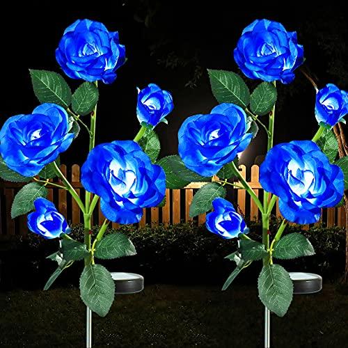 2 Pack Outdoor Solar Garden Lights, JJGoo LED Solar Powered Light with 5 Rose Flowers, Bigger Solar Panel Garden Decor Waterproof Solar Decorative Lights for Patio Pathway Courtyard Lawn (Blue)