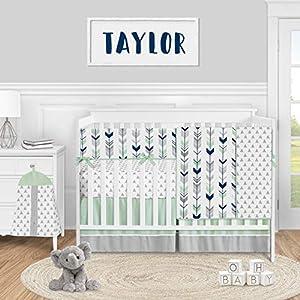 Sweet Jojo Designs Woodland Arrow Baby Boy or Girl Nursery Crib Bedding Set – 5 Pieces – Mod Navy Blue Grey and Mint