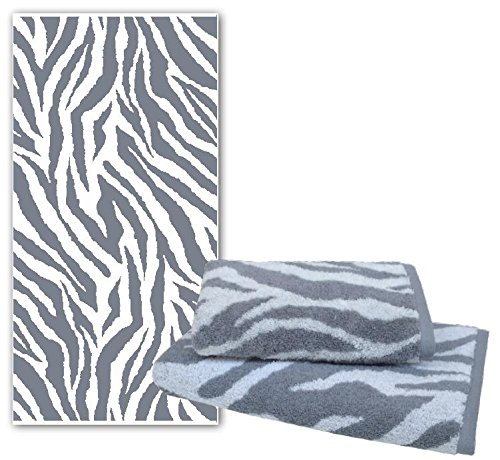 Dyckhoff Handtuch Duschtuch Badetuch Zebra grau weiß mit Bordüre *NEU* (Handtuch 50 x 100 cm, Zebra )