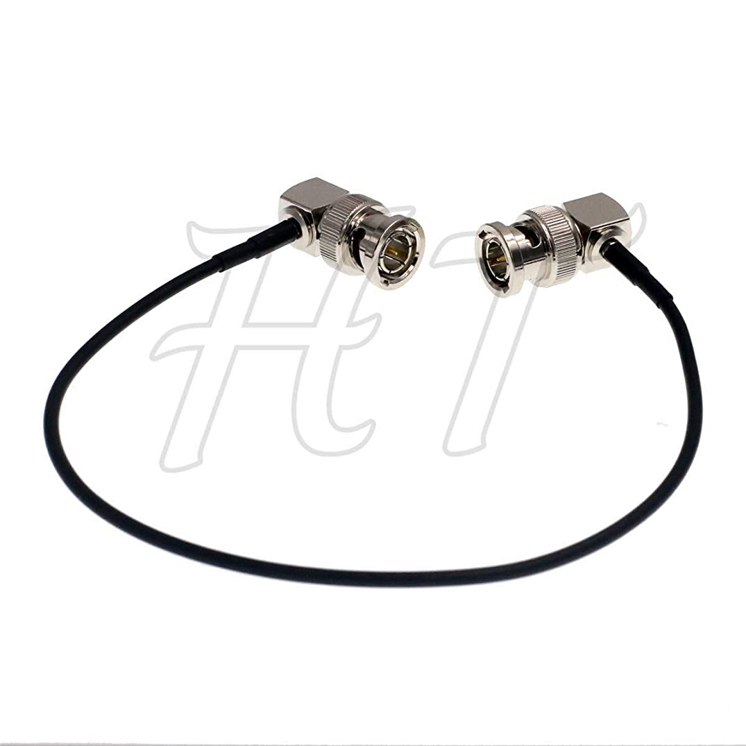 HT-Cable Camera Monitor HD SDI 3G Video Coaxial Cable 75ohm Right Angle BNC to Right Angle BNC Cable (30cm, 2pcs)