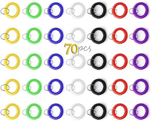 sansheng Pack of 70 Wrist Coil Keychain,Stretchable Coil Keychain Bracelet,Plastic Coil Wrist Keychain(7 Colours)