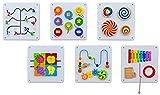 Betzold 756307 - Wandspiel Motorik-Spielzeug aus Holz - 6er-Set Wandelemente - Wand-Spielzeug für Kinder ab 1 Jahre - Kinderzimmer Kindergarten