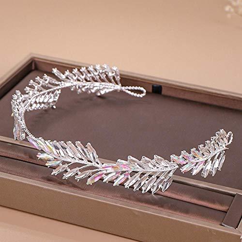 Diadema De Boda De Diamantes De Imitación De Cristal Tiara Tocado De Novia Adornos para El Cabello Diadema De Novia Joyería para El Cabello De Mujer-Plata