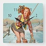 daoyiqi Classic Wood Clock, Non Ticking Clock Vintage Pinup Girl Wall Clock, Gone Fishing Square Wal...