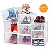 I&D Designs Shoe Organizer - 6 Pack in XL Large Medium Small Size - Clear Plastic Stackable Shoe Rack - Box Bin Container for Closet or Under Bed Storage Organizer (LARGE 6 Pcs)