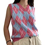 Women Streetwear Preppy Style Knitwear Tank Top V Neck Argyle Plaid Knitted Sweater Vest Y2k 90s E-Girl Clothes (Checkered Water Pink,Medium)