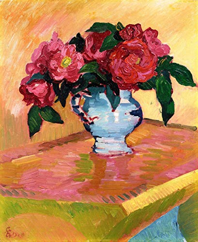 """Alberto Giacometti Red Peonies in a Light Blue Jar on a Bugatti Table 1908 Private Collection 30"""" x 25"""" Fine Art Giclee Canvas Print (Unframed) Reproduction"""