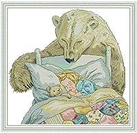 DIY クロスステッチキット、手作り刺繍キット 、11CT 図柄印刷 初心者 ホーム装飾 、壁の装飾 、クリスマス プレゼント, クマと女の子 40X50CM
