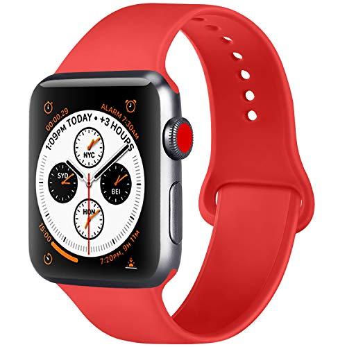 Amzpas Correa Compatible con para Apple Watch Correa 38mm 42mm 40mm 44mm, Correa de Reemplazo de Muñeca Ajustable de Silicona Suave para iWatch Serie 4/3/2/1 (06 Naranja Rojo, 42mm/44mm-S/M)