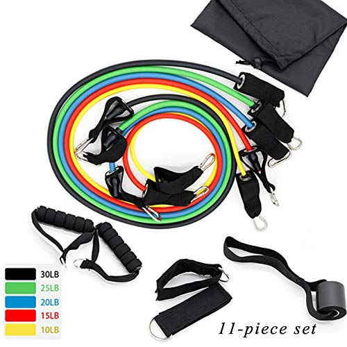 Generic 11 PCS Professional Resistance Bands Elastic Rubber Rope Sports Expander Rubber Bodybuilding Exercise Instruments Set Color Standard 11pcs Set