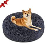 FOCUSPET Dog Bed Donut, Faux Fur Cuddler Bed Size 30'' for Cats & Dogs Round Ultra Soft Washable Self Warming Pet Cuddler Beds