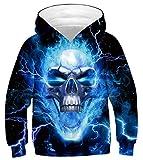 GLUDEAR Youth Girls Boys 3D Galaxy Printed Pockets Sweatshirts Jacket Pullover Hoodies,Lightning Skull,8-11T
