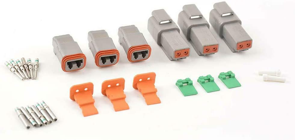 JRready ST6112 DT Connector 2 Pin Gray Waterproof Electrical Wire Connector with Deutsch Solid Contacts and Seal Plug,3 Sets