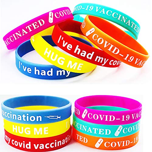 18packs Covid Wristbands ,Vaccination Silicone Bracelets for COVID-19 Vaccine, Covid Bands, Vaccinated ID for Front Line Workers ,2 Style 6colors for Adult size